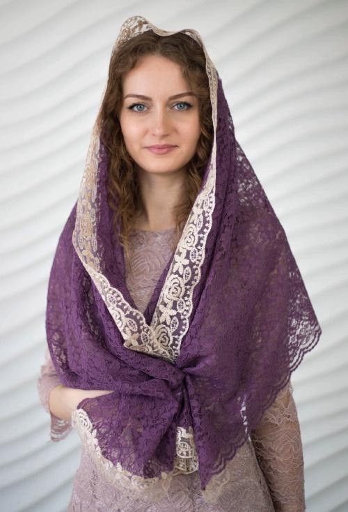 Женский платок сиреневый